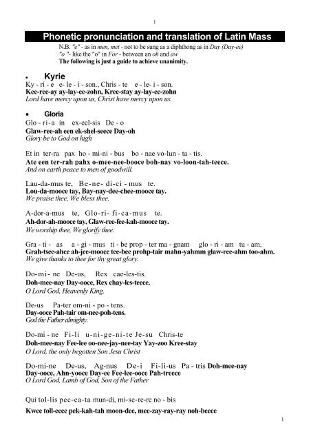 latin pronunciation guide for singers